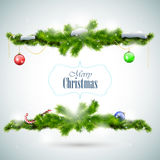 Christmas card with fir branches and balls Royalty Free Stock Photo