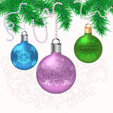 Christmas card with fir branches. Christmas card with balls and fir branches on light background Stock Photo