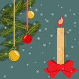 Christmas card with fir branches. Bells, lighted candle and bow, background with snowflakes Vector flat illustration Royalty Free Stock Photo