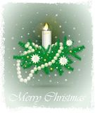 Christmas card with fir branches, candle, beads, stars. Christmas card with image of a green fir branches, candles burning, glass beads, stars, gold balls vector illustration