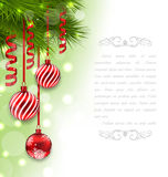 Christmas Card with Fir Branches and Glass Balls Stock Photos