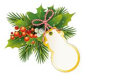 Christmas card with fir branches, Ilex and mistletoe berries and Snowman Christmas tree card for self-labeling, Gift tag and bow,. Vector illustration isolated Royalty Free Stock Image