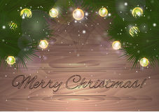 Christmas card with fir branches with lights and sparkles. For your creativity Stock Photography