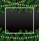 Christmas Card with Fir Branches, Neon Garland and White Frame. Royalty Free Stock Photos