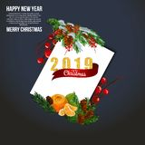 Christmas card with fir branches, 2019, red ribbon and snow. Vector paper illustration. Christmas card with fir branches, balls and snow. Vector paper stock illustration