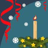 Christmas card with fir branches, stars. Serpentine, lighted candle, background with snowflakes. Vector flat illustration Stock Photo