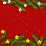 Christmas card with fir branches, stars and snowflakes. Royalty Free Stock Photography
