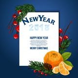 Christmas card . Vector background. Template. Christmas card with fir branches and tangerines. Vector background. Template. Place for text Stock Photography