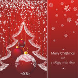Christmas card with fir in red Royalty Free Stock Photography