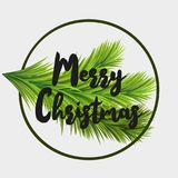 Christmas card with fir tree branche and Merry Christmas text. Can be used for flyers, party posters. Christmas card with fir tree branches, hanging glitter Stock Photography