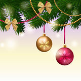 Christmas card. With fir tree branches, balls and bows Stock Images