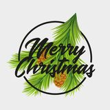 Christmas card with fir tree branches and bunch. Merry Christmas text. Can be used for flyers, party posters, season offer advertising and promotion, design Royalty Free Stock Photo