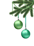 Christmas card. With fir tree branches and green balls Royalty Free Stock Photos