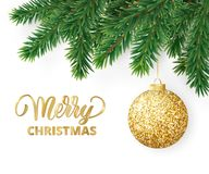 Greeting card with fir tree branches, hanging glitter ball and Merry Christmas text. Christmas card with fir tree branches, hanging christmas ball and Merry Royalty Free Stock Image