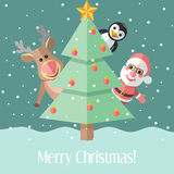 Christmas card with fir tree and Christmas characters. Blue holiday Christmas card with fir tree and Santa Claus and reindeer and penguin Stock Image