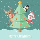 Christmas card with fir tree and Christmas characters Stock Image