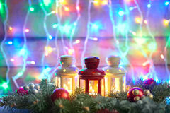 Christmas card with fir tree and decoration on lights bokeh back Royalty Free Stock Photography