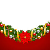 Christmas card with fir-tree decoration Royalty Free Stock Photography