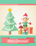 Christmas card with fir tree and elf Royalty Free Stock Photos