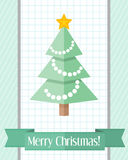 Christmas card with fir tree and green ribbon Royalty Free Stock Photo