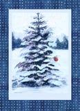 Christmas card with fir tree Stock Photos