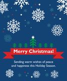 Christmas card with fir-tree. Holiday ribbon and snowflakes Royalty Free Stock Images