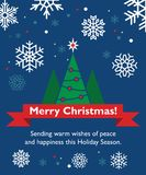 Christmas card with fir-tree. Holiday ribbon and snowflakes Stock Photos