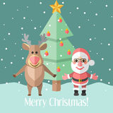 Christmas card with fir tree and Santa Claus and reindeer Royalty Free Stock Photos
