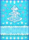 Christmas card with  fir tree and snowflakes. Celebratory  card, border for your text Stock Images