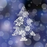 Christmas card with fir-tree from snowflakes. Vector illustration Royalty Free Stock Photography
