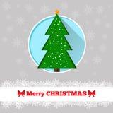 Christmas card fir-tree template. Christmas card template with christmas tree in the circle Royalty Free Stock Photography