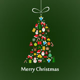 Christmas card with fir-tree template. Christmas card template with christmas tree made of elements Stock Image