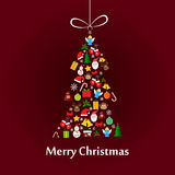 Christmas card with fir-tree template. Christmas card template with christmas tree made of elements Royalty Free Stock Photo