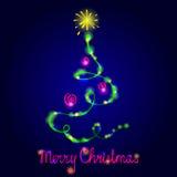 Christmas card with fir-tree. Stock Photos