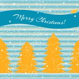 Christmas card with fir trees and stripes Stock Photo