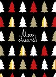 Christmas card with fir-trees. Vector illustration. Flat design Royalty Free Stock Images