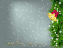 Christmas card with fir twigs and jingle bells. Christmas and New Year Greeting card with fir twigs, jingle bells and bow Stock Photos