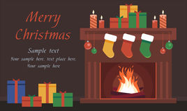 Christmas Card with the fireplace Royalty Free Stock Photography