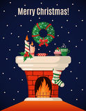 Christmas Card with fireplace. Royalty Free Stock Photo