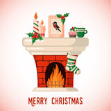 Christmas Card with fireplace. Royalty Free Stock Images