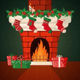 Christmas Card with fireplace and socks. Christmas Card with fireplace and Christmas socks in flat style. Vector illustration Stock Photo