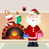 Christmas Card with fireplace and stockings Royalty Free Stock Photos