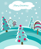 Christmas card with firs. And snowflakes Royalty Free Stock Images