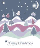 Christmas card with firs. Christmas vector card with trees, stars and moon Stock Photo