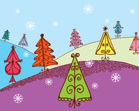 Christmas card with firs Royalty Free Stock Photography