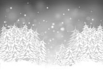 Christmas card with firs. On a silver background Stock Photography