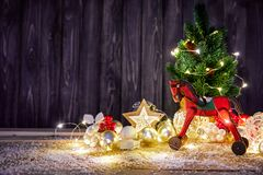 Christmas card with firtree balls and red Royalty Free Stock Photography