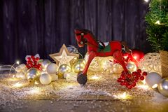 Christmas card with firtree balls and red Royalty Free Stock Images