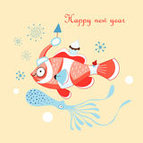 Christmas card with a fish. Greeting christmas card with fish and squid on a yellow background Royalty Free Stock Image
