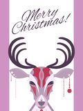 Christmas card with flat deer and a wish Royalty Free Stock Photos
